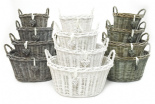 White Grey Shabby Chic Wicker Kitchen Fruit Oval Storage Baskets Xmas Hamper Basket